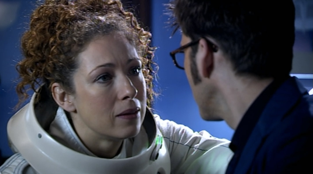 River Song talking to the Doctor in Silence in the Library.